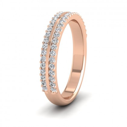Double Edge Half Claw Set Diamond Ring (0.46ct) In 9ct Rose Gold