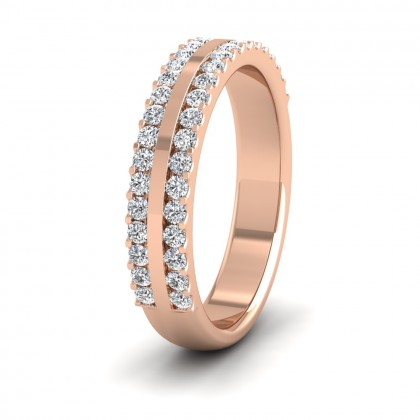 Double Edge Half Claw Set Diamond Ring (0.5ct) In 9ct Rose Gold