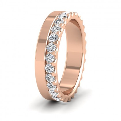 Assymetric Full Claw Set Diamond Ring (0.98ct) In 18ct Rose Gold