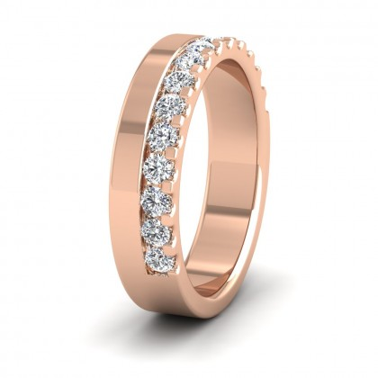 Assymetric Half Claw Set Diamond Ring (0.49ct) In 9ct Rose Gold