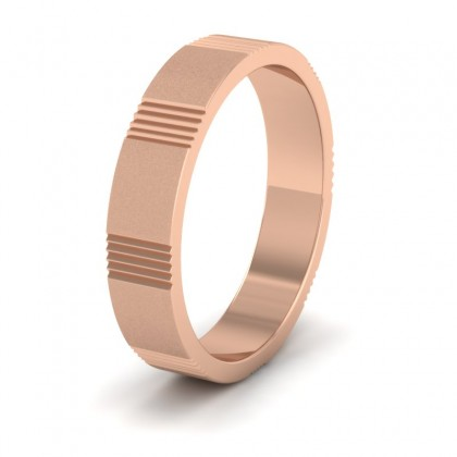 Across Groove Pattern 18ct Rose Gold 4mm Flat Wedding Ring