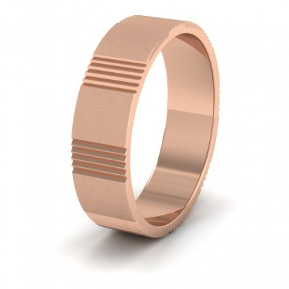 Across Groove Pattern 9ct Rose Gold 6mm Flat Wedding Ring