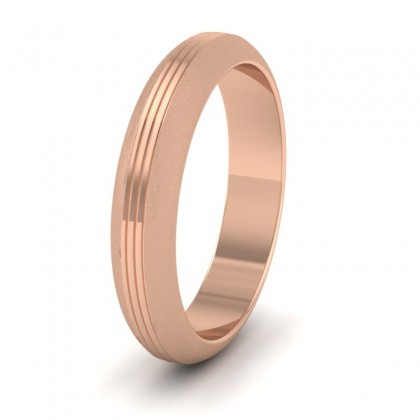 Grooved Pattern 9ct Rose Gold 4mm Wedding Ring