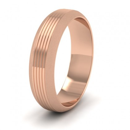 Grooved Pattern 9ct Rose Gold 6mm Wedding Ring