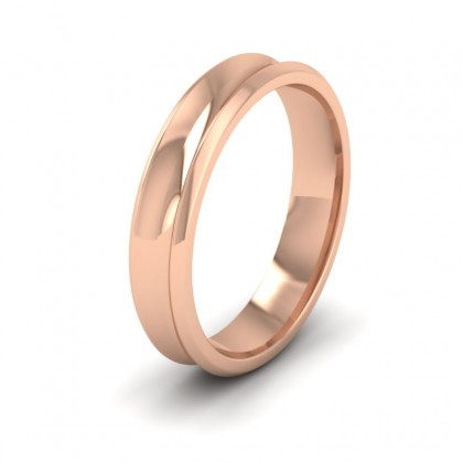 Concave 9ct Rose Gold 4mm Wedding Ring
