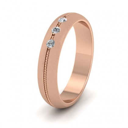 Three Diamond And Centre Millgrain Pattern 18ct Rose Gold 4mm Wedding Ring