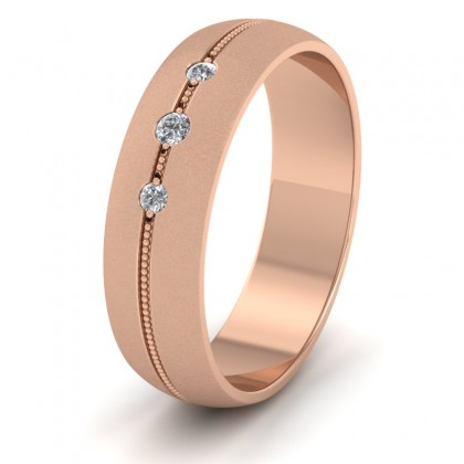 Three Diamond And Centre Millgrain Pattern 18ct Rose Gold 6mm Wedding Ring