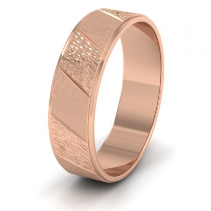 Diagonal Matt And Patterned 9ct Rose Gold 6mm Wedding Ring
