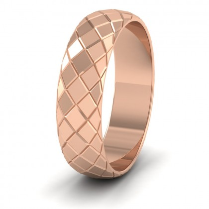 Facet And Line Harlequin Design 9ct Rose Gold 6mm Wedding Ring