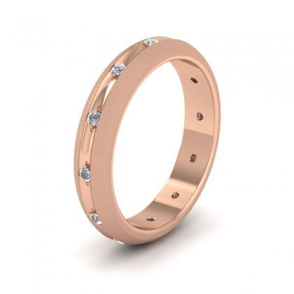 Wedding Ring With Concave Groove Set With Twelve Diamonds 4mm Wide In 9ct Rose Gold