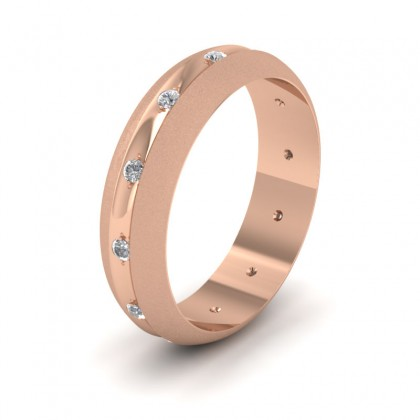 Wedding Ring With Concave Groove Set With Twelve Diamonds 6mm Wide In 9ct Rose Gold