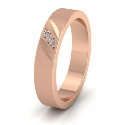 Diagonal Cut And Diamond Set 18ct Rose Gold 4mm Flat Wedding Ring
