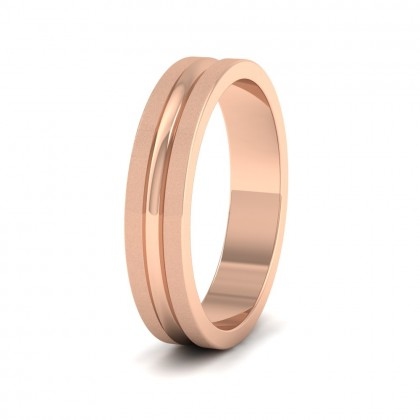 Bullnose Groove Pattern Flat 9ct Rose Gold 4mm Flat Wedding Ring