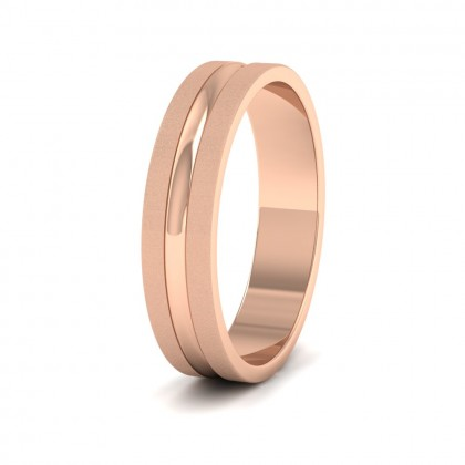 Bullnose Groove Pattern Flat 9ct Rose Gold 5mm Flat Wedding Ring
