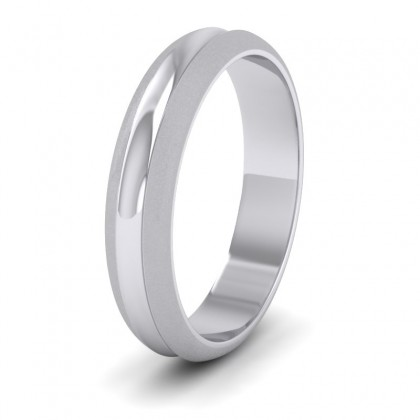 Bullnose Groove Pattern 9ct White Gold 4mm Wedding Ring