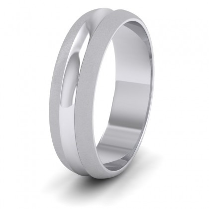 Bullnose Groove Pattern 9ct White Gold 6mm Wedding Ring