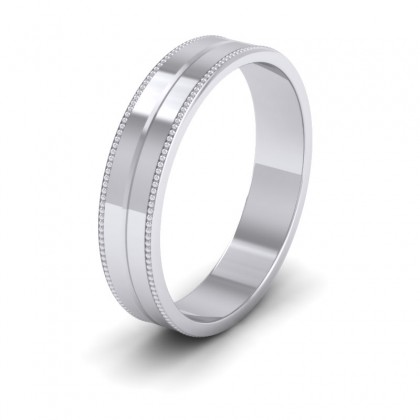 Millgrain And Line Pattern 9ct White Gold 4mm Flat Wedding Ring