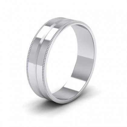 Millgrain And Line Pattern 9ct White Gold 6mm Flat Wedding Ring