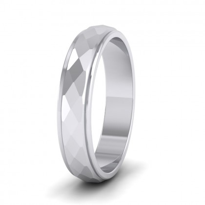 Facet And Line Pattern 9ct White Gold 4mm Wedding Ring
