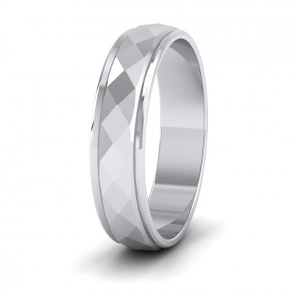 Facet And Line Pattern 9ct White Gold 5mm Wedding Ring