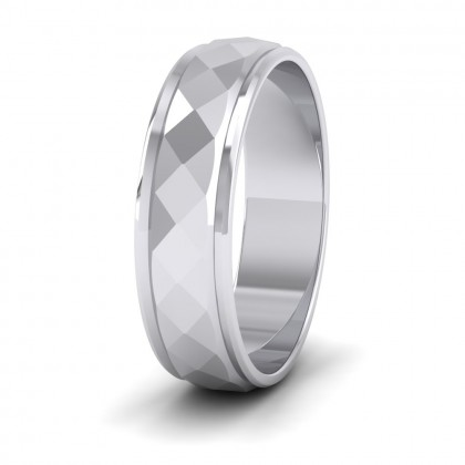Facet And Line Pattern 9ct White Gold 6mm Wedding Ring