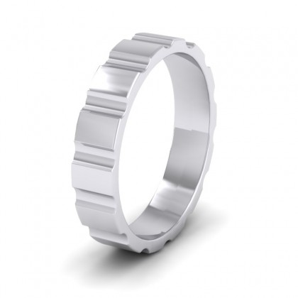 Groove Pattern Flat 9ct White Gold 4mm Flat Wedding Ring