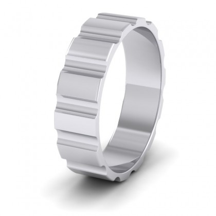 Groove Pattern Flat 9ct White Gold 6mm Flat Wedding Ring