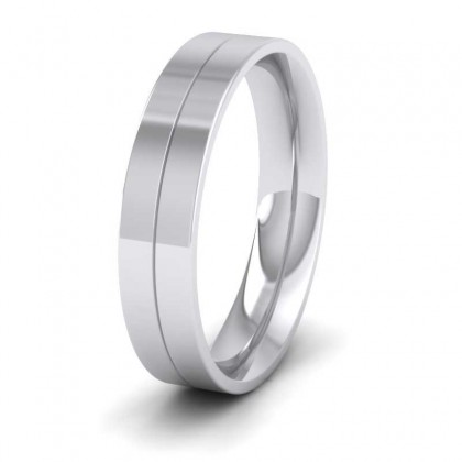 9ct White Gold 5mm Wedding Ring With Line