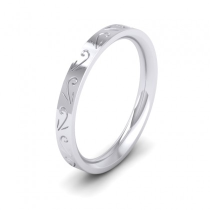 Engraved Flat 18ct White Gold 2.5mm Wedding Ring