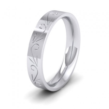 Engraved Flat 9ct White Gold 4mm Wedding Ring
