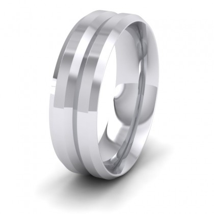 Bevelled Line Patterned 950 Platinum 7mm Wedding Ring