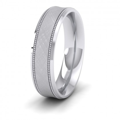 Hatched Centre And Millgrain Patterned 950 Platinum 5mm Wedding Ring