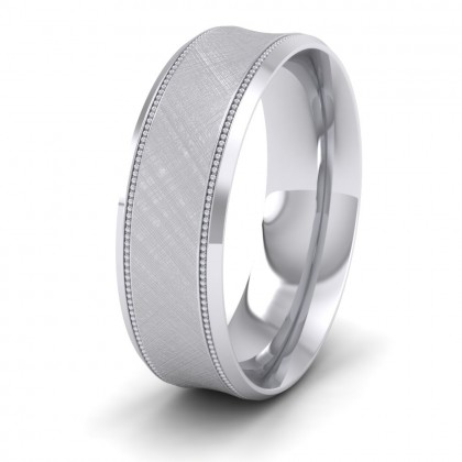 Hatched Centre And Millgrain Patterned 950 Platinum 7mm Wedding Ring