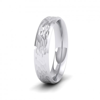 Bevelled Edge And Hammered Centre Sterling Silver 4mm Wedding Ring