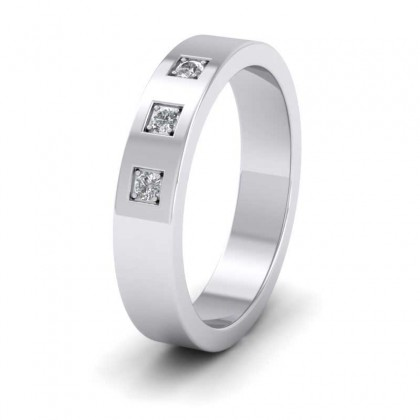 Three Diamonds With Square Setting 500 Palladium 4mm Wedding Ring