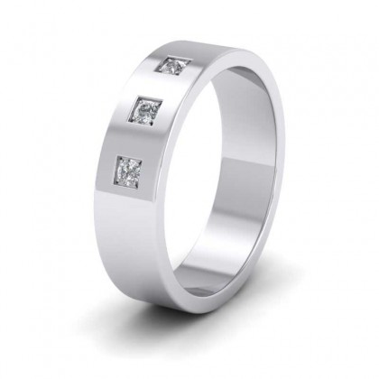 Three Diamonds With Square Setting 500 Palladium 6mm Wedding Ring