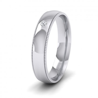 Single Flush Diamond Set And Millgrain Edge 14ct White Gold 4mm Wedding Ring