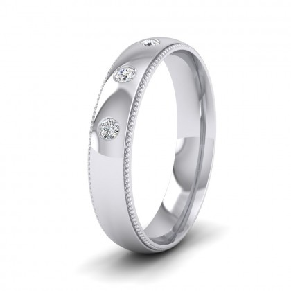 Diamond Set And Millgrain Edge 9ct White Gold 4mm Wedding Ring