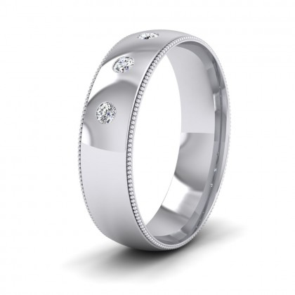 Diamond Set And Millgrain Edge 9ct White Gold 6mm Wedding Ring