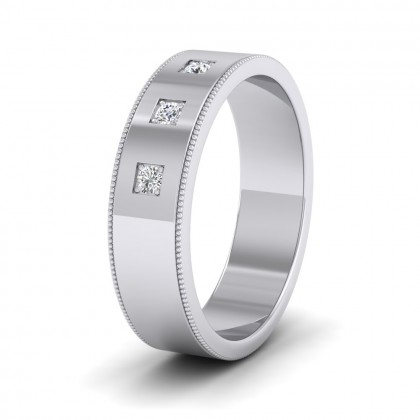 Three Diamonds With Square Setting 9ct White Gold 6mm Wedding Ring With Millgrain Edge