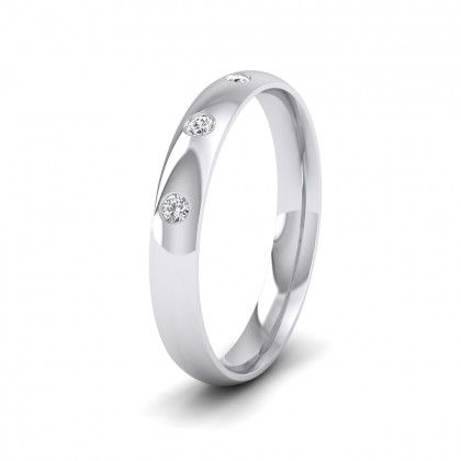 Three Diamond Flush Set 14ct White Gold 3mm Wedding Ring