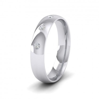 Three Diamond Flush Set 9ct White Gold 4mm Wedding Ring