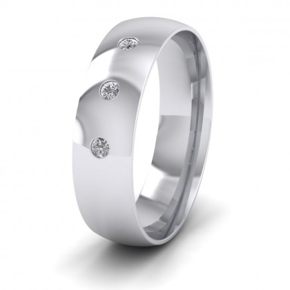Three Diamond Flush Set 9ct White Gold 6mm Wedding Ring