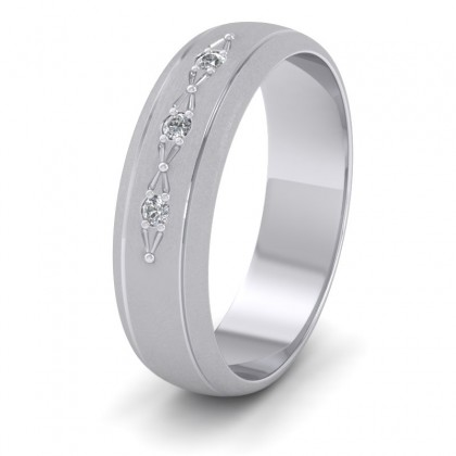 Three Diamond Set 500 Palladium 6mm Wedding Ring With Lines