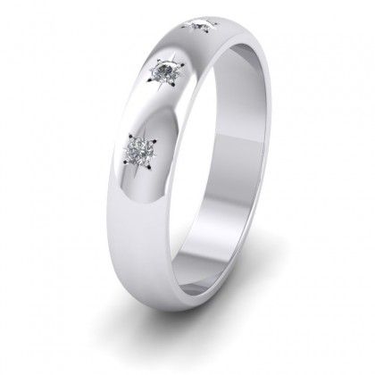 Three Star Diamond Set 9ct White Gold 4mm Wedding Ring