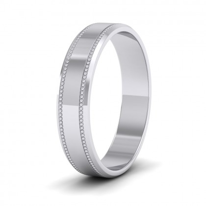 Bevelled Edge And Millgrain Pattern Sterling Silver 4mm Flat Wedding Ring