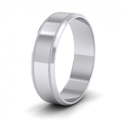 Bevelled Edge And Millgrain Pattern 9ct White Gold 6mm Flat Wedding Ring