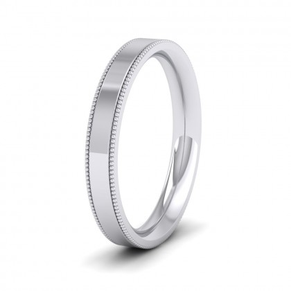 Millgrain Edge 9ct White Gold 3mm Flat Comfort Fit Wedding Ring