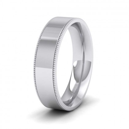 Millgrain Edge 9ct White Gold 5mm Flat Comfort Fit Wedding Ring