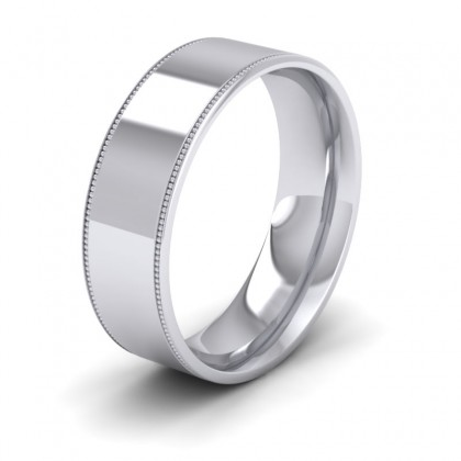Millgrain Edge Sterling Silver 7mm Flat Comfort Fit Wedding Ring